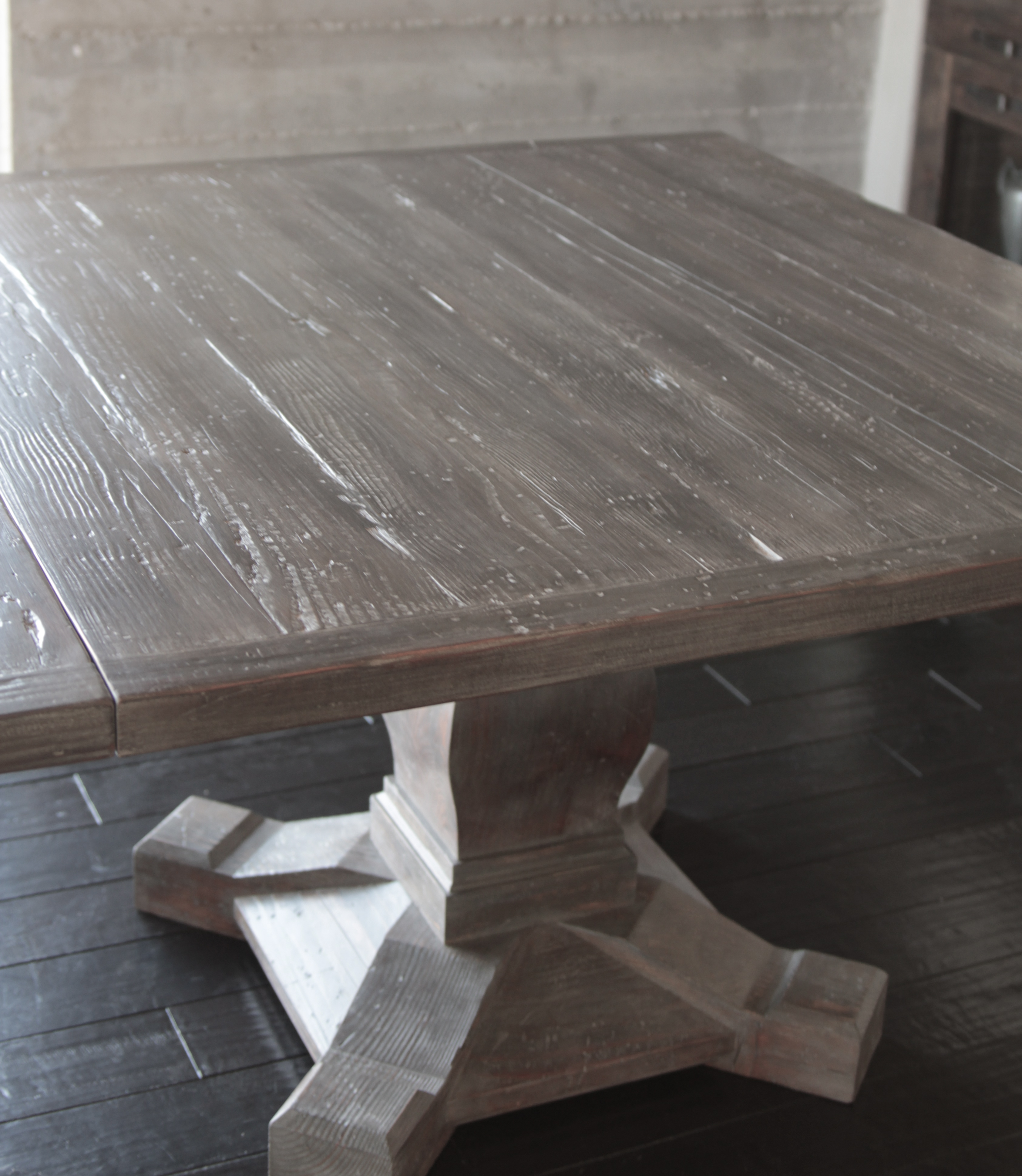 Square pedestal dining table - I Salvaged The Planks For This Table Top From An Old Beach House In Morro Bay Thanks For The Wood Chip