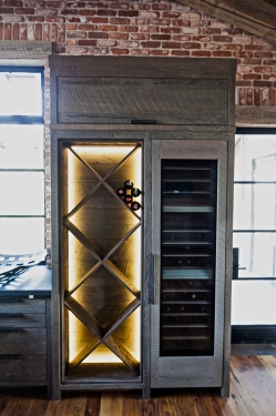 backlit wine bottle rack / built in wine cooler