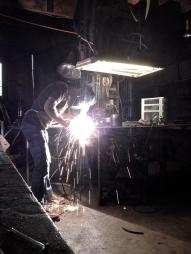 Weld up steel stringers.